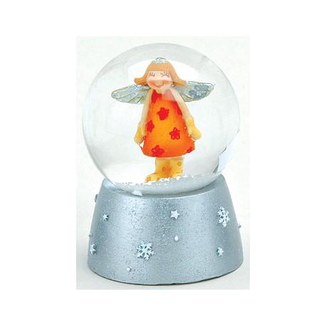 Boule à neige Ange orange résine 6 cm