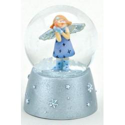 Boule à neige Ange bleu résine 6 cm