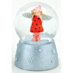 Boule à neige Ange rouge résine 6 cm