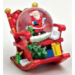 Boule à neige Père Noël hotte fauteuil à bascule résine 7 cm
