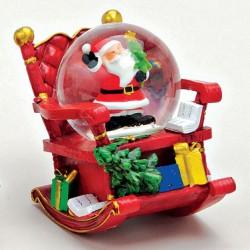 Boule à neige Père Noël sapin fauteuil à bascule résine 7 cm