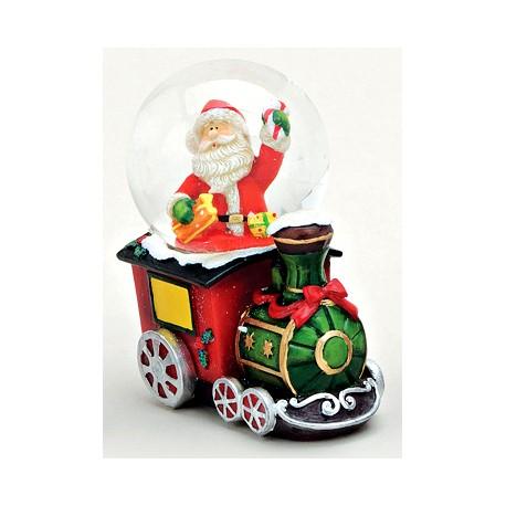 Boule à neige Père Noël train résine 7 cm