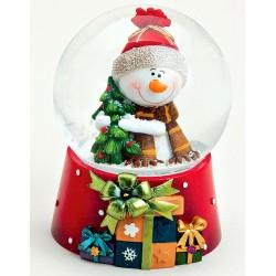 Boule à neige Bonhomme de neige sapin résine 8 cm