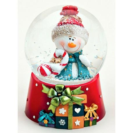 Boule à neige Bonhomme de neige sucre d'orge résine 8 cm