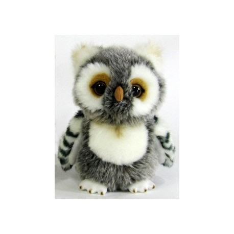 peluche hibou gris 17 cm la magie des automates. Black Bedroom Furniture Sets. Home Design Ideas