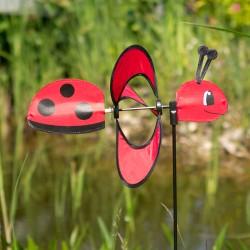 Girouette éolienne coccinelle rouge 85 cm
