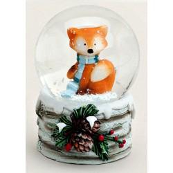 Boule à neige Renard Noël résine 6 cm