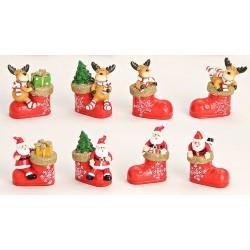 Figurine de Noël avec botte rouge résine 5 cm
