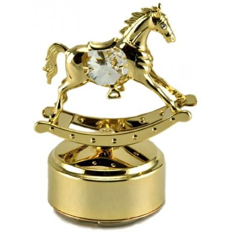 Boîte à musique cheval doré avec cristaux de verre 9,5 cm