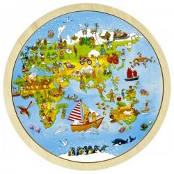 Puzzle cadre enfant en bois recto verso tour du monde 57 pièces