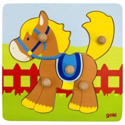 Puzzle enfant en bois cheval 5 pièces