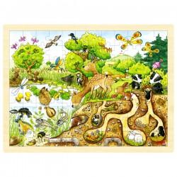 Puzzle cadre enfant en bois animaux forêt 96 pièces