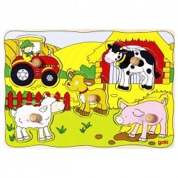 Puzzle enfant en bois la ferme 5 pièces