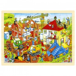 Puzzle enfant en bois chantier 96 pièces
