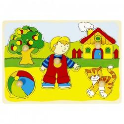 Puzzle enfant en bois maison jardin 5 pièces