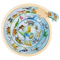Puzzle enfant en bois ronde des animaux 27 pièces