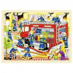 Puzzle cadre enfant en bois pompiers 48 pièces