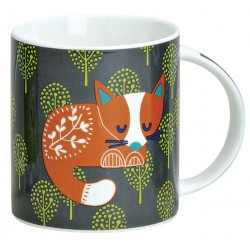 Tasse renard porcelaine gris orange 30 cl