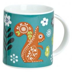 Tasse écureuil porcelaine bleu orange 30 cl