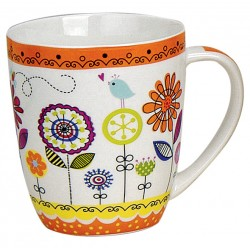 Tasse fleurs orange porcelaine 35 cl