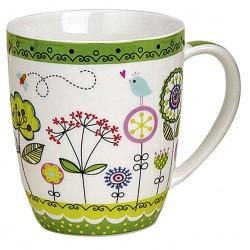 Tasse fleurs vert porcelaine 35 cl