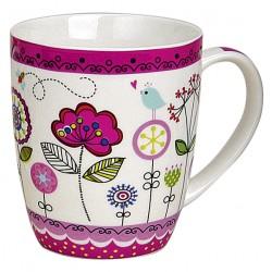 Tasse fleurs violet porcelaine 35 cl