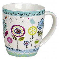 Tasse fleurs bleu porcelaine 35 cl