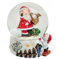 Boule à neige Père Noël Lyre résine 6 cm