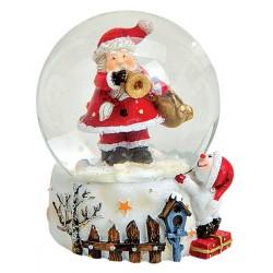 Boule à neige Père Noël trompette résine 6 cm