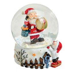 Boule à neige Père Noël tambour résine 6 cm