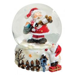 Boule à neige Père Noël violon résine 6 cm