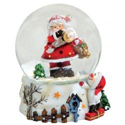 Boule à neige Père Noël trompette résine 8 cm