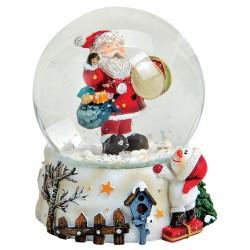 Boule à neige Père Noël tambour résine 8 cm