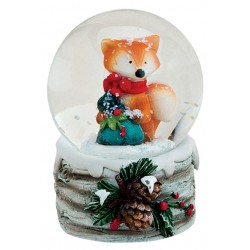 Boule à neige Renard Noël rouge résine 6 cm