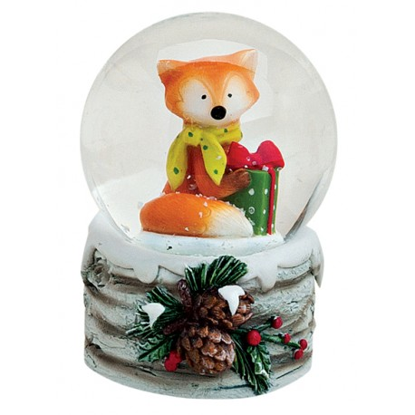 Boule à neige Renard Noël jaune résine 6 cm