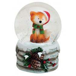 Boule à neige Renard Noël vert résine 6 cm