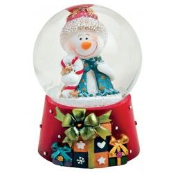 Boule à neige Noël Bonhomme de Neige sucre d'orge 6 cm résine