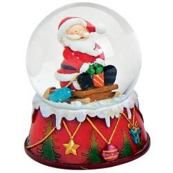 Boule à neige Père Noël luge cadeau 9 cm résine