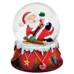 Boule à neige Père Noël luge 9 cm résine