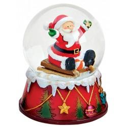 Boule à neige Père Noël étoile ballon 9 cm résine