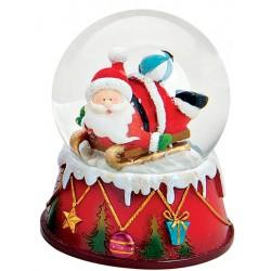 Boule à neige Père Noël ballon 9 cm résine
