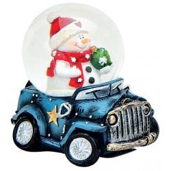 Boule à neige Noël Bonhomme de neige voiture bleu 6 cm résine