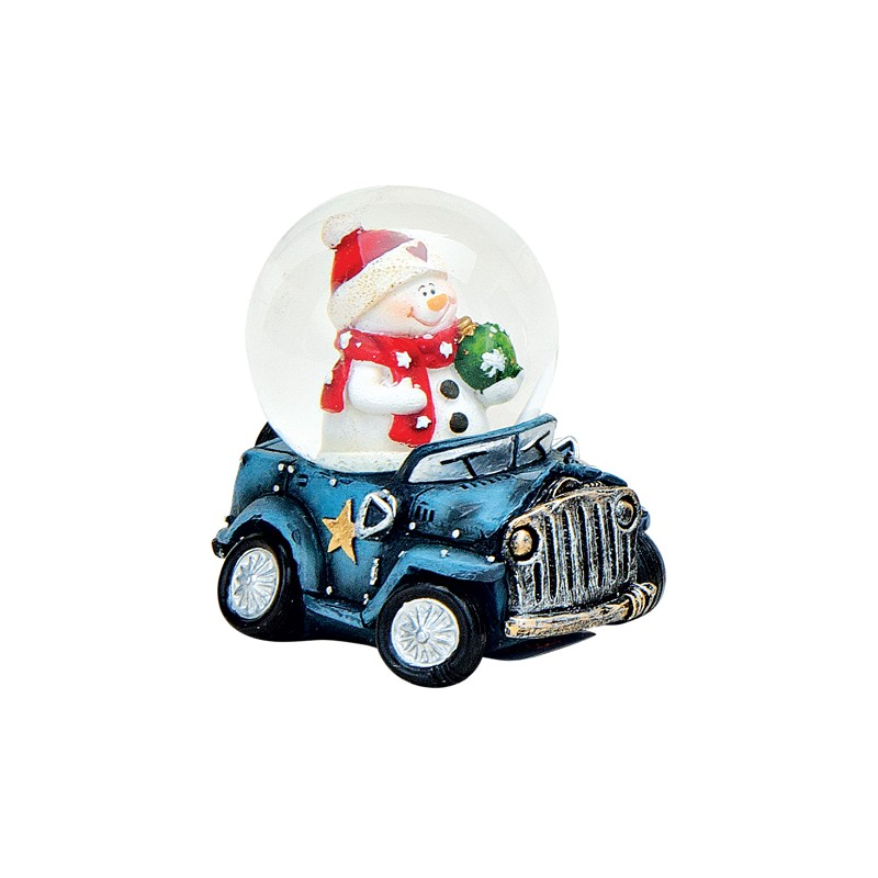 boule neige no l bonhomme de neige voiture bleu 6 cm. Black Bedroom Furniture Sets. Home Design Ideas