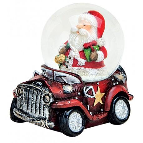 Boule à neige Père Noël voiture rouge 6 cm résine