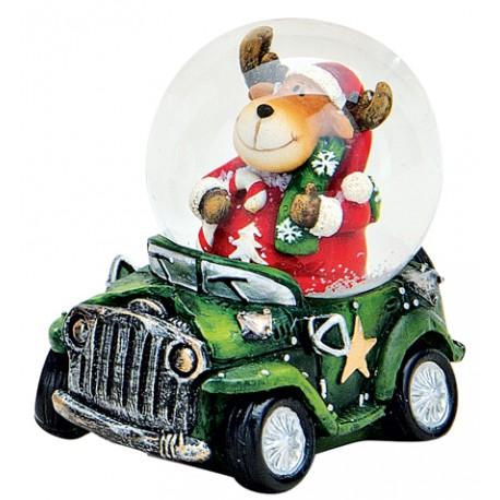 Boule à neige Noël renne voiture vert 6 cm résine