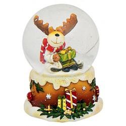 Boule à neige Noël Renne gros cadeau 6 cm résine