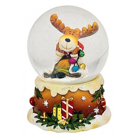 Boule à neige Noël Renne guirlande 6 cm résine