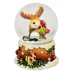 Boule à neige Noël Renne petit cadeau 6 cm résine