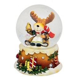 Boule à neige Noël Renne cloche 6 cm résine