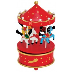 Boîte à musique manège en bois rouge or 19 cm